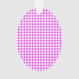 Hot Pink White Gingham Pattern Ornament