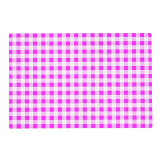 Hot Pink White Gingham Pattern Placemat