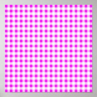 Hot Pink White Gingham Pattern Print