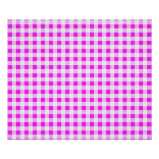 Hot Pink White Gingham Pattern Posters