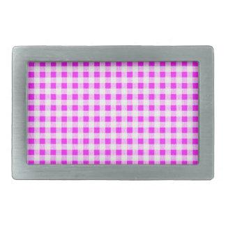 Hot Pink White Gingham Pattern Rectangular Belt Buckle