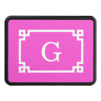 Hot Pink White Greek Key Frame #2 Initial Monogram Hitch Cover