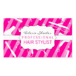 Hot Pink & White Hair Salon Tools Business Card Templates