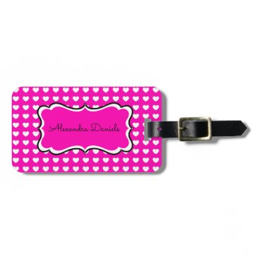 Valentines Themed Hot Pink White Hearts Personalized Luggage Tag
