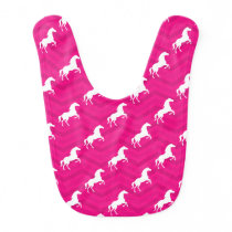 Hot Pink, White Horse, Equestrian, Chevron Baby Bib