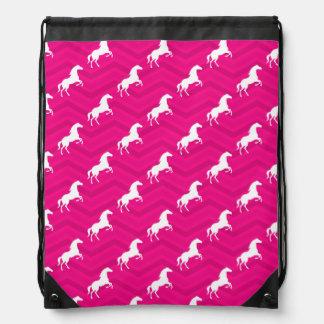Hot Pink, White Horse, Equestrian, Chevron Cinch Bag