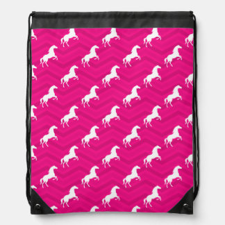 Hot Pink, White Horse, Equestrian, Chevron Drawstring Bag