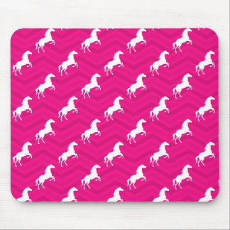 Hot Pink, White Horse, Equestrian, Chevron Mouse Pad