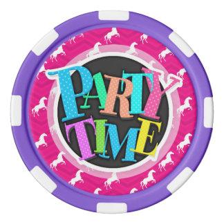 Hot Pink, White Horse, Equestrian, Chevron Set Of Poker Chips