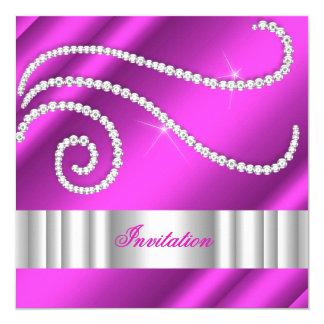 Hot Pink White Jewel diamonds Silver Birthday 5.25x5.25 Square Paper Invitation Card