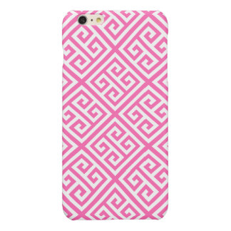 Hot Pink White Med Greek Key Diag T Pattern #1 Glossy iPhone 6 Plus Case