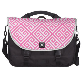 Hot Pink White Med Greek Key Diag T Pattern #1 Laptop Messenger Bag