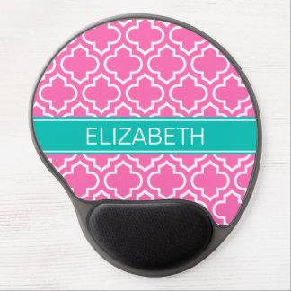Hot Pink White Moroccan #6 Teal Name Monogram Gel Mouse Pad