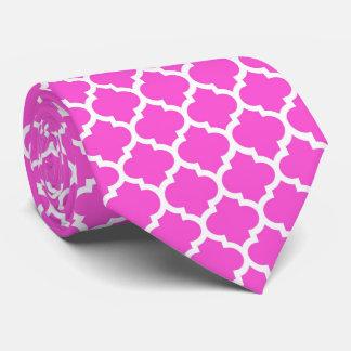 Hot Pink, White Moroccan Quatrefoil Pattern #5 Neck Tie