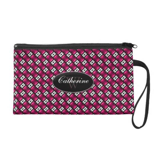 Hot Pink White Pattern Wristlet Bag