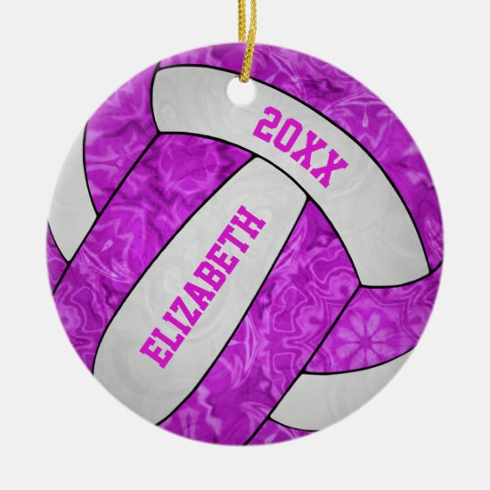 hot pink white personalized girls' volleyball ceramic ornament