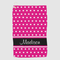 Hot Pink White Polka Dot Black Stripe Script Name Golf Towel
