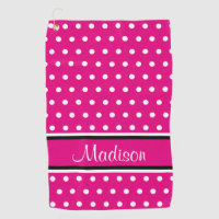 Hot Pink White Polka Dot Black Stripes Script Name Golf Towel