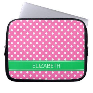 Hot Pink White Polka Dot Em Green Name Monogram Computer Sleeve