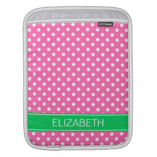Hot Pink White Polka Dot Em Green Name Monogram Sleeve For iPads