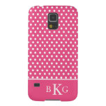 Hot Pink White Polka Dots & Custom Monogram Cases For Galaxy S5