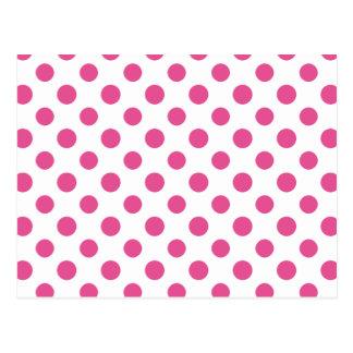 Hot Pink White Polka Dots Pattern Postcard
