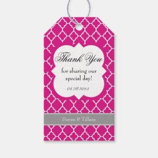 Hot Pink White Quatrefoil Wedding Thank You Tag