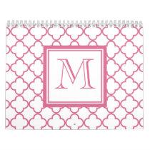 Hot Pink White Quatrefoil | Your Monogram Calendar
