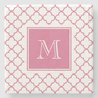 Hot Pink White Quatrefoil | Your Monogram Stone Coaster