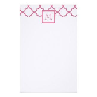 Hot Pink White Quatrefoil | Your Monogram Stationery Paper
