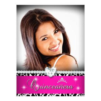 Hot Pink White Quinceanera 15 Diamond Image Photo Personalized Invite