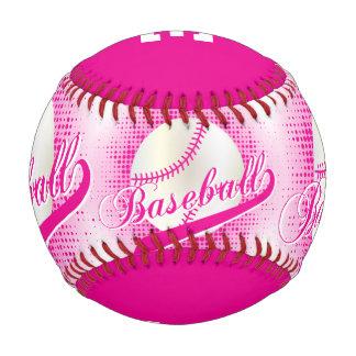 Hot Pink   White Retro Baseball Sports Baseballs