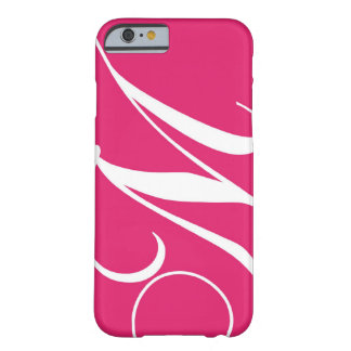 Hot Pink, White Script Monogram M Barely There iPhone 6 Case