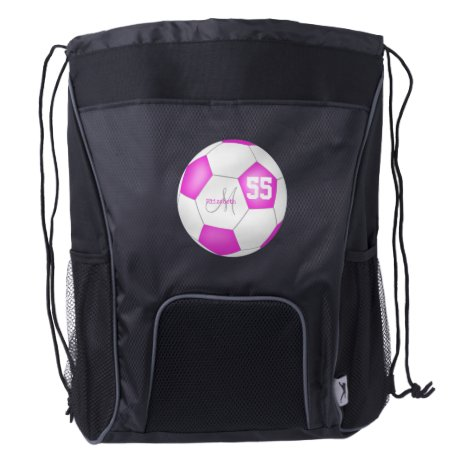 hot pink white soccer ball girl name jersey number drawstring backpack