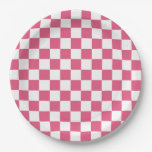 Hot Pink White Squares Paper Plate