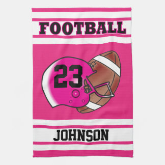 Hot Pink & White Stripe Football Jersey Hand Towel