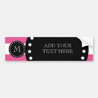 Hot Pink White Stripes Pattern, Black Monogram Bumper Sticker