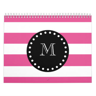 Hot Pink White Stripes Pattern Black Monogram Calendar