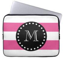 Hot Pink White Stripes Pattern, Black Monogram Laptop Sleeve