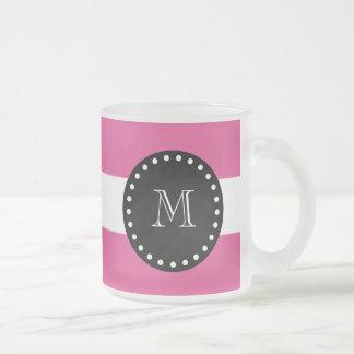 Hot Pink White Stripes Pattern, Black Monogram 10 Oz Frosted Glass Coffee Mug