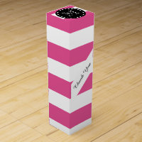 Hot Pink White Stripes Pattern, Black Monogram Wine Box