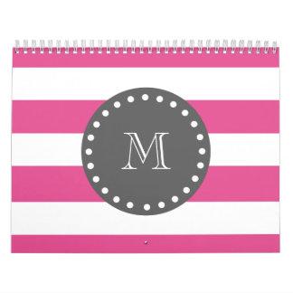 Hot Pink White Stripes Pattern, Charcoal Monogram Wall Calendar