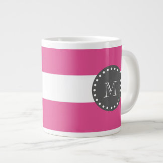 Hot Pink White Stripes Pattern, Charcoal Monogram Giant Coffee Mug