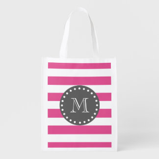 Hot Pink White Stripes Pattern, Charcoal Monogram Grocery Bag