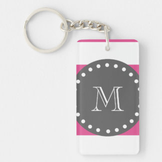 Hot Pink White Stripes Pattern, Charcoal Monogram Keychain