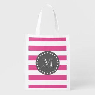 Hot Pink White Stripes Pattern, Charcoal Monogram Market Totes