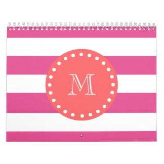 Hot Pink White Stripes Pattern Coral Monogram Calendars