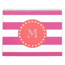 Hot Pink White Stripes Pattern, Coral Monogram Calendar
