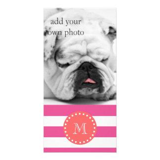 Hot Pink White Stripes Pattern, Coral Monogram Card