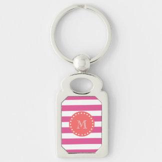 Hot Pink White Stripes Pattern, Coral Monogram Keychain